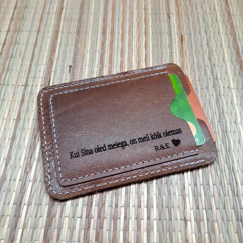 Kaarditasku  kaardihoidja nahast personaalse graveeringuga