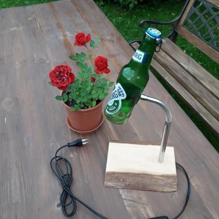 Käsitöö lamp puidust pudeliga personaalse graveeringuga