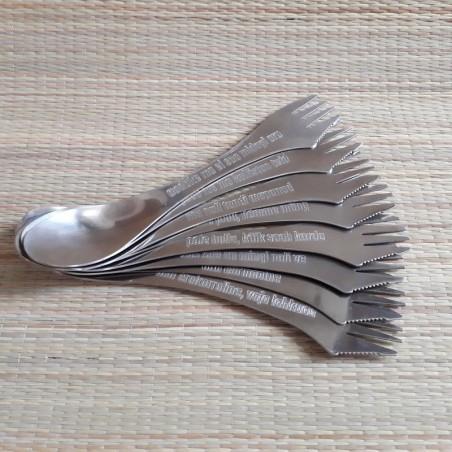 Personaalse graveeringuga terasest spork lusikas + kahvel + nuga