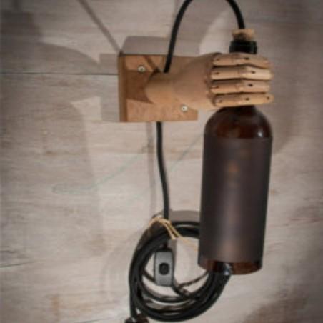 Käsitöö lamp puidust käsi pudeliga personaalse graveeringuga