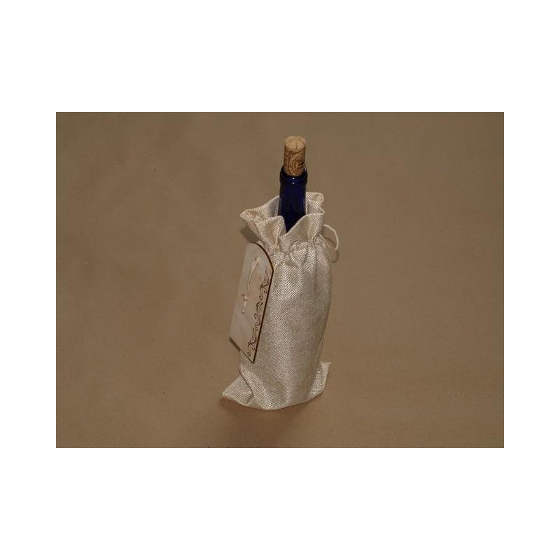Pudeli kinkekott puidust sildiga personaalse graveeringuga