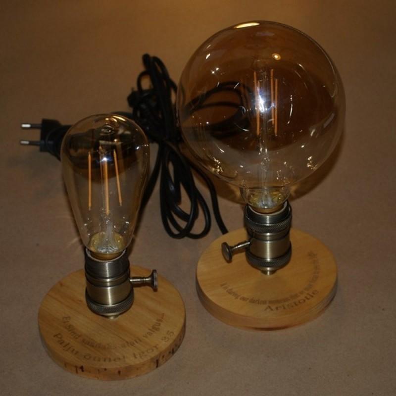 Edisoni lamp puidust Personaalse graveeringuga
