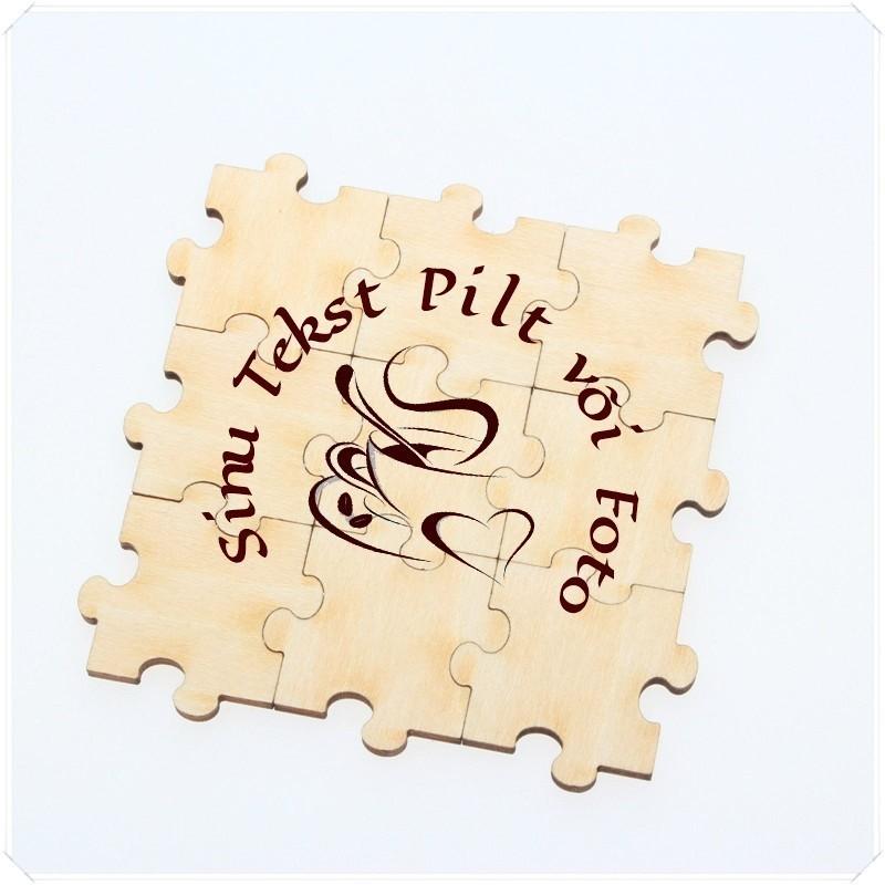Puzzle kaart vineerist personaalse graveeringuga