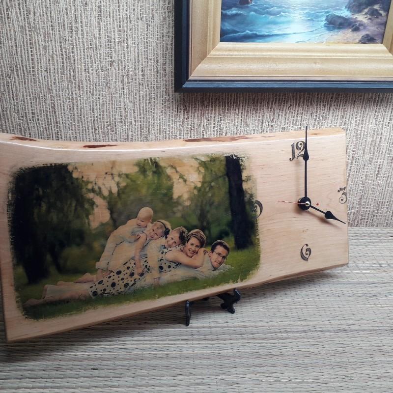 Fotoga puidust seinakell või lauakell